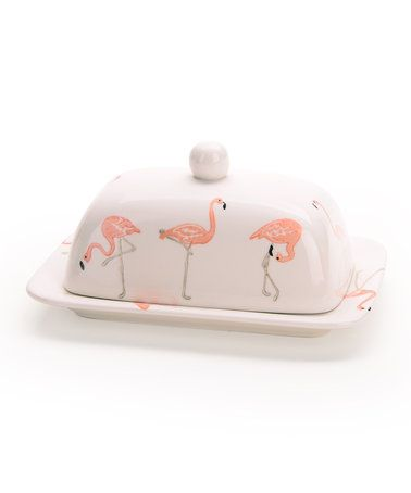 Loving this Flamingo Butter Dish on #zulily! #zulilyfinds