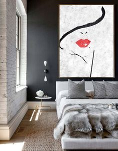Charming Extra Large Acrylic Painting On Canvas, Minimalist Painting Canvas Art,  Black And White Painting, Sexy Lady, HAND PAINTED Original Art.