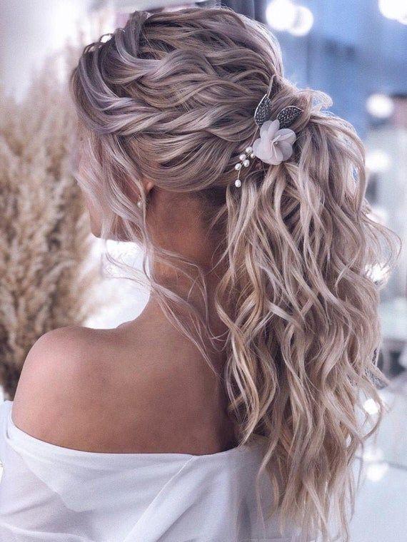 Bridal hair comb Flower hair comb Pearl hair comb Wedding hair comb Rose gold…