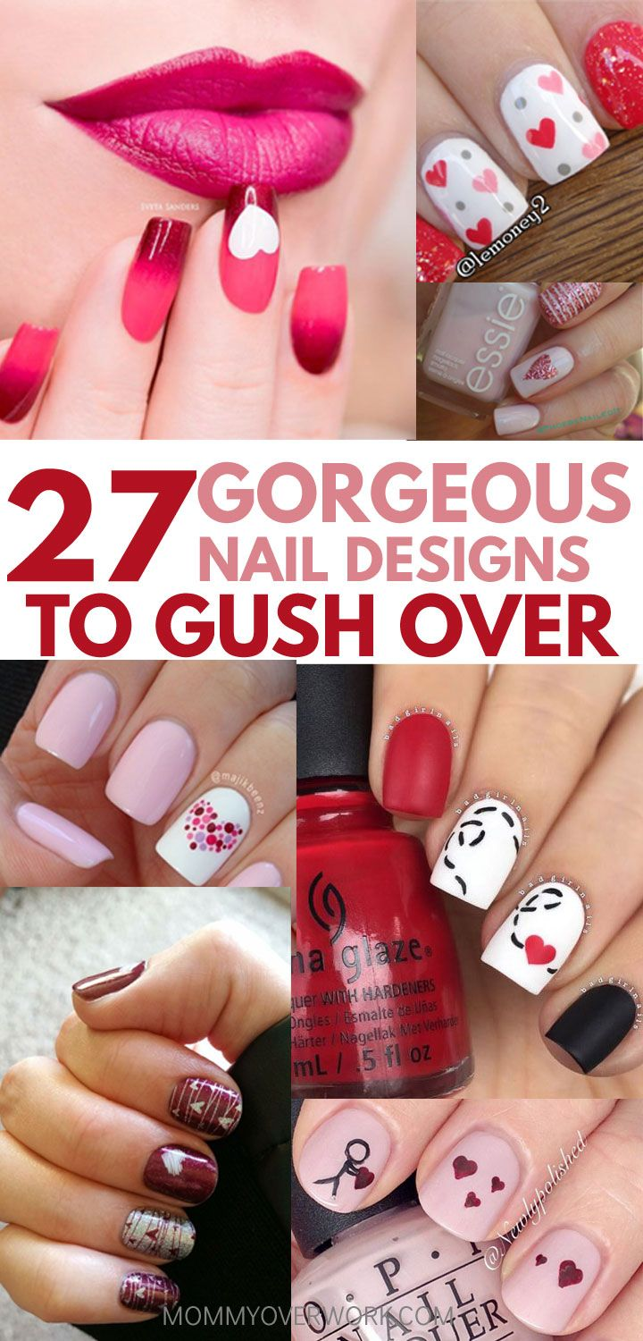 27 Nail Heart Designs to Swoon Over | Manicure, Nail nail and Beauty ...