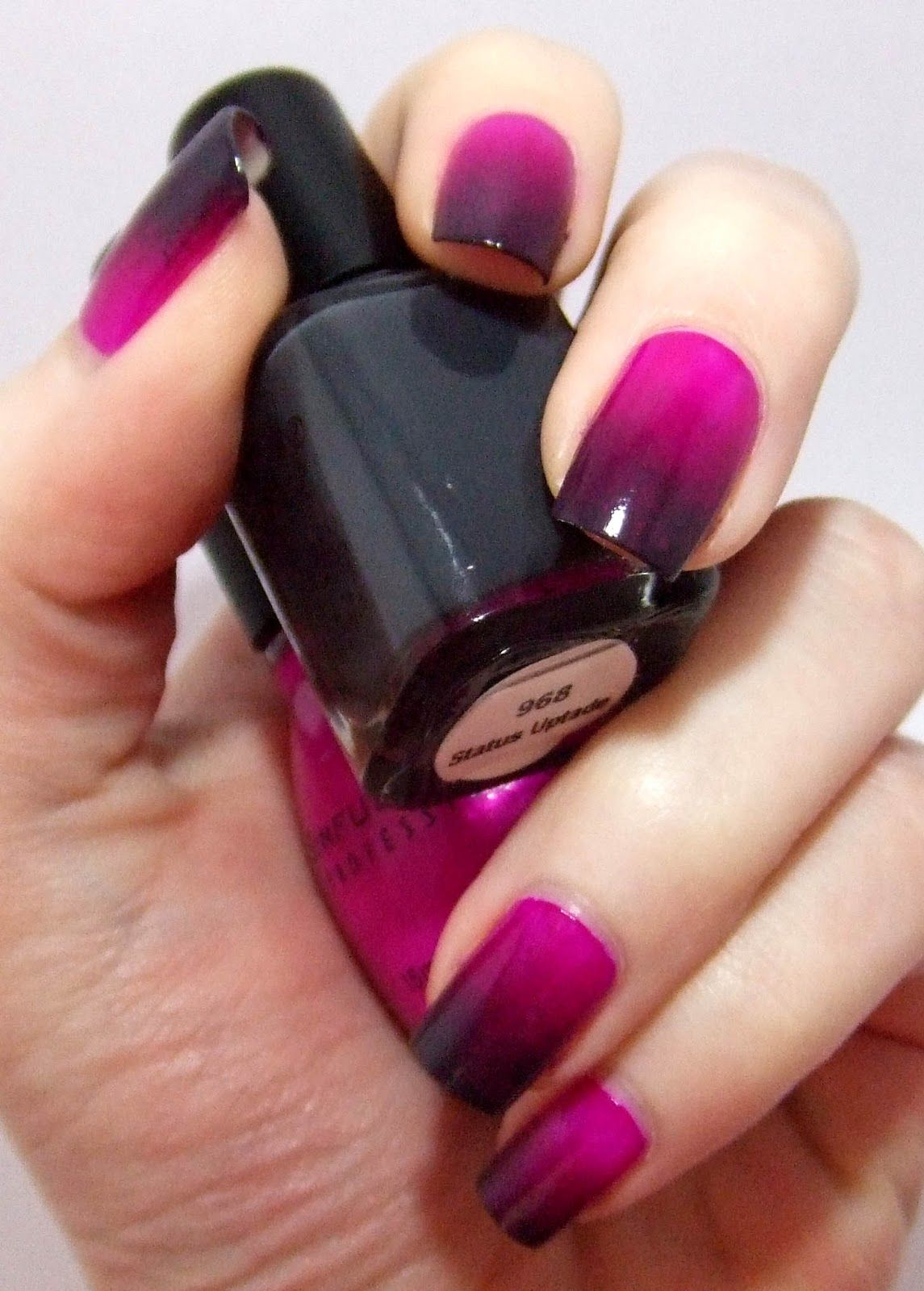 Bright purple and deep grey gradient nail art design (Sinful Colors ...