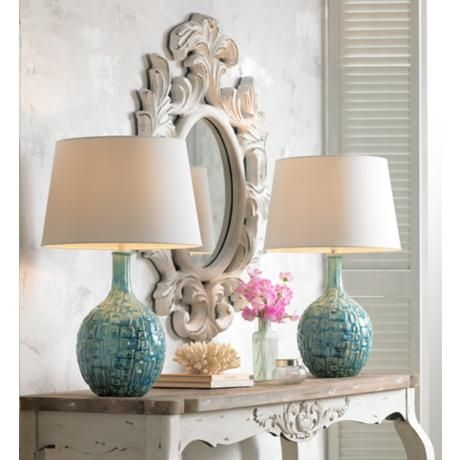 Mid Century Teal Ceramic Gourd Table Lamp Home Pinterest Table