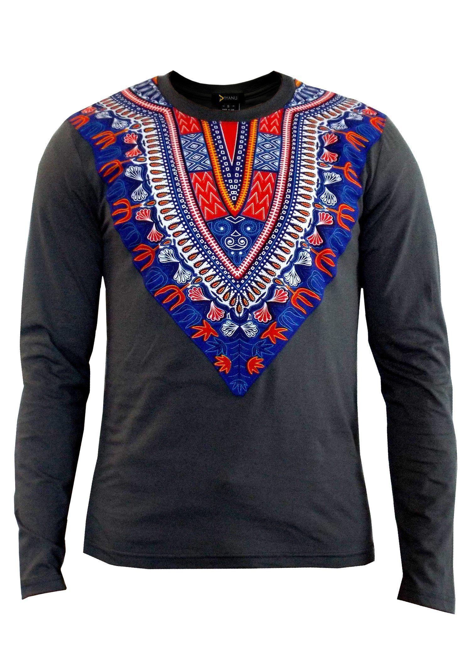 558f30999a7 NEW Thabo Men s African Print Dashiki Long Sleeve Shirt (Grey Blue Sunset)