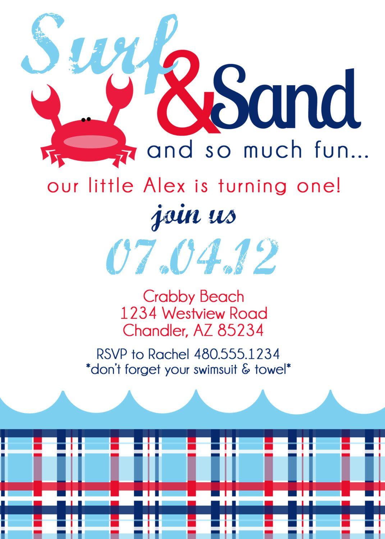 Printable Birthday Party Invitation - Nautical Crab Beach Birthday ...