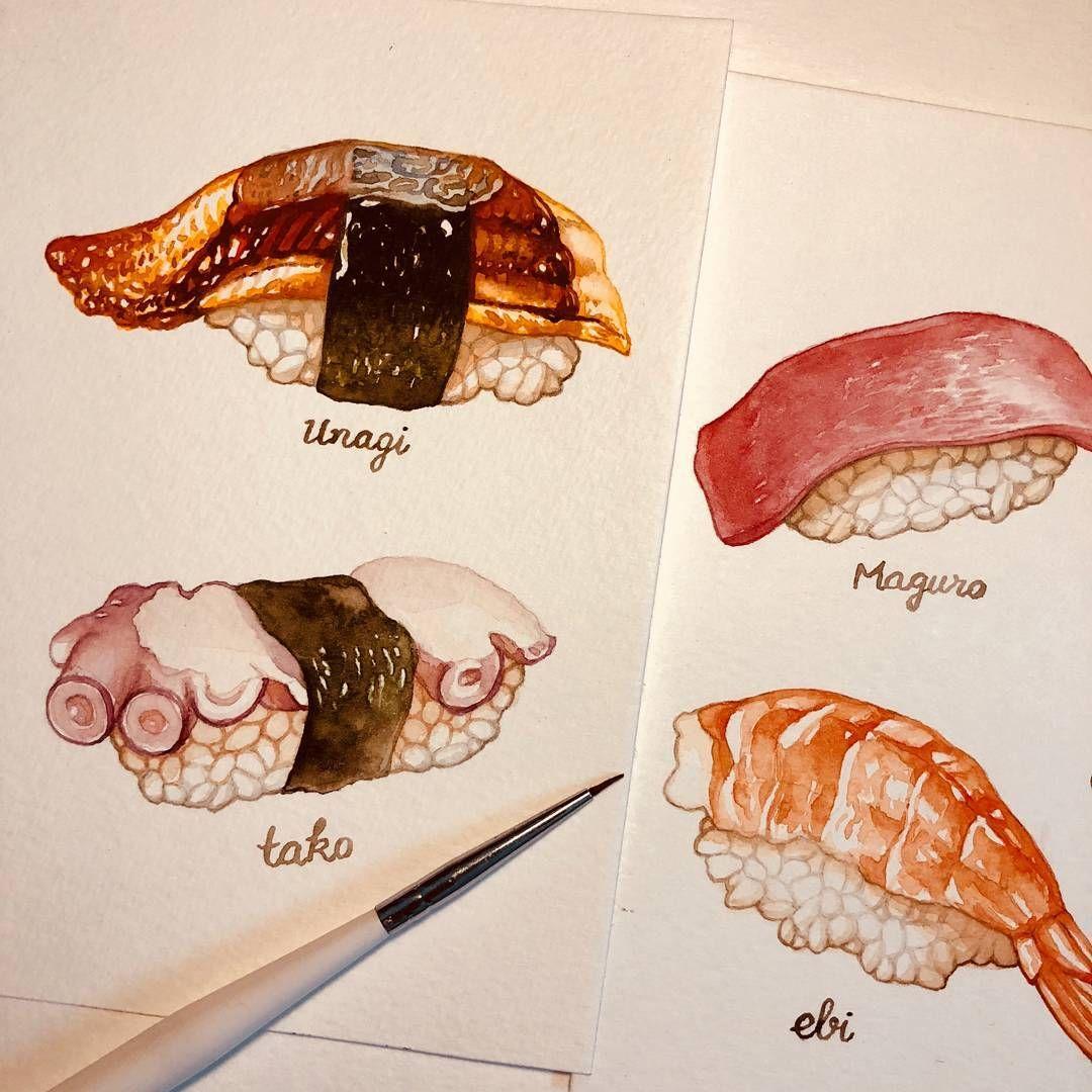 лада суши рисунки красками животные бывают