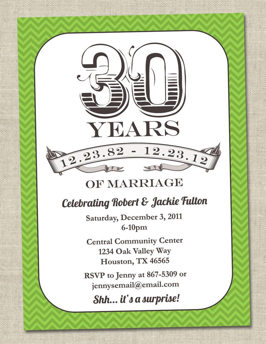 30th Anniversary Invitation Green Emerald Vintage