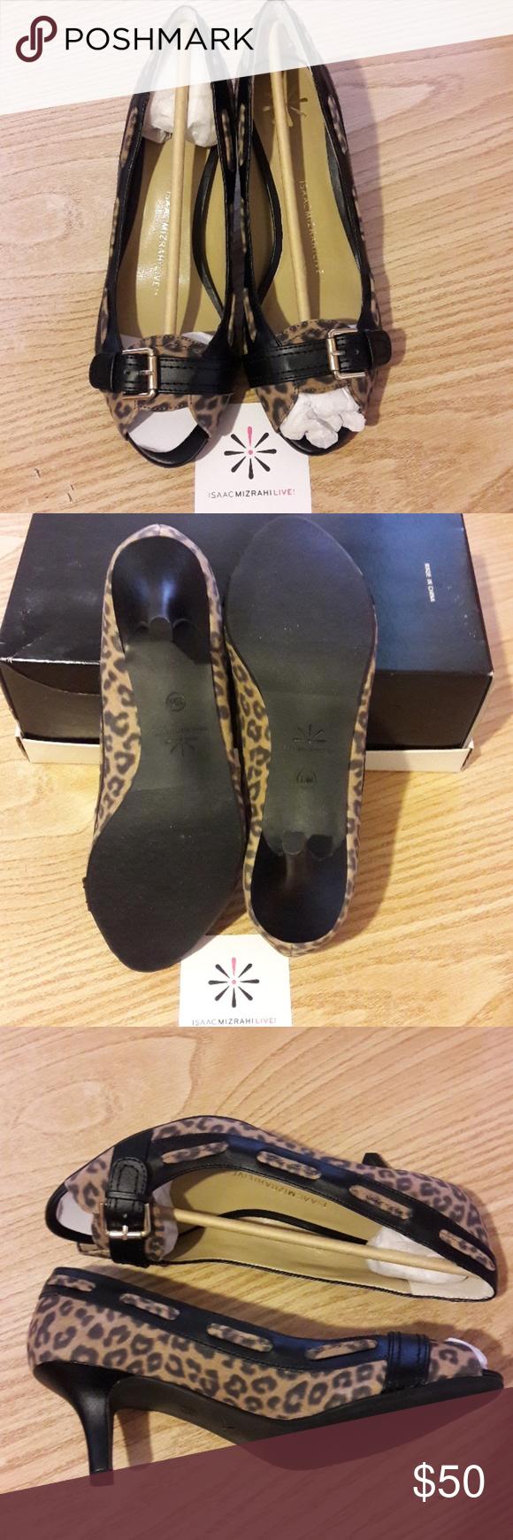 cc62d1d86304 Isaac Mizrahi Live Suede peep toe kitten Heels Leopard print NWOT size 7 1/2