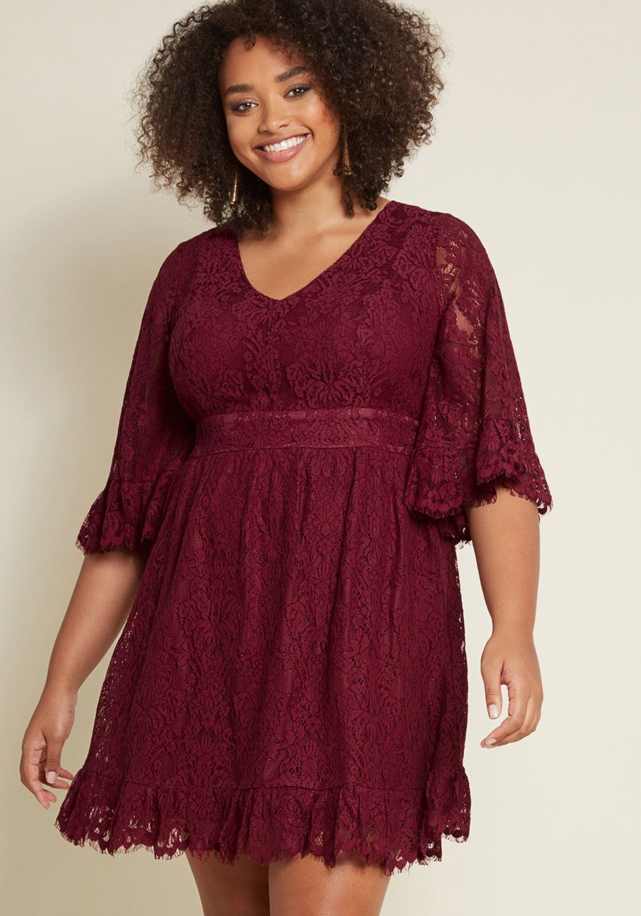07d94a8cc7d Through the Bluebells A-Line Dress in Burgundy Lace