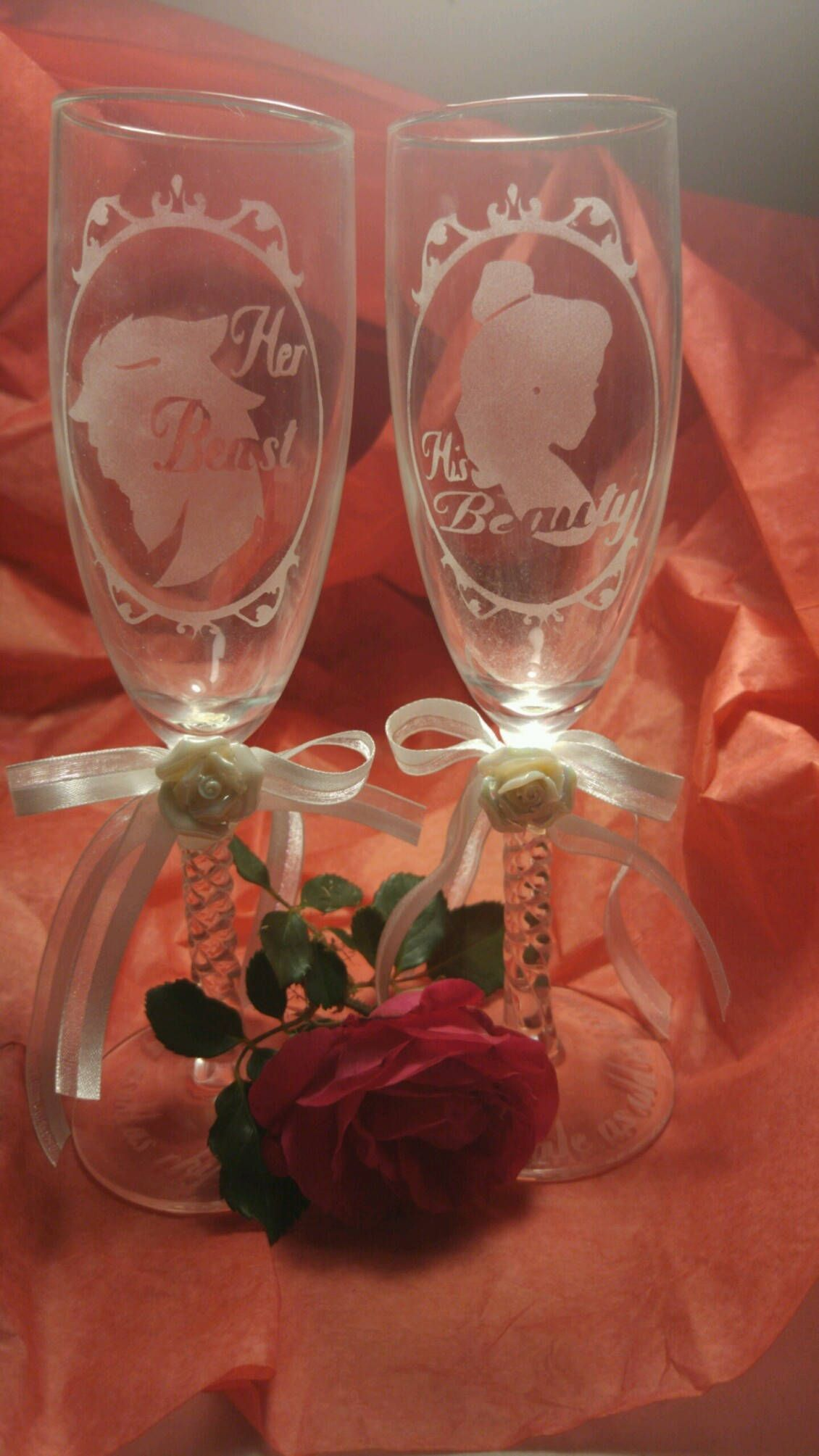 Etched Disney Beauty and The Beast Silhouette Champagne Wedding Anniversary Flutes Glasses Custom Personalized by LarsonsCustomGraphic on Etsy
