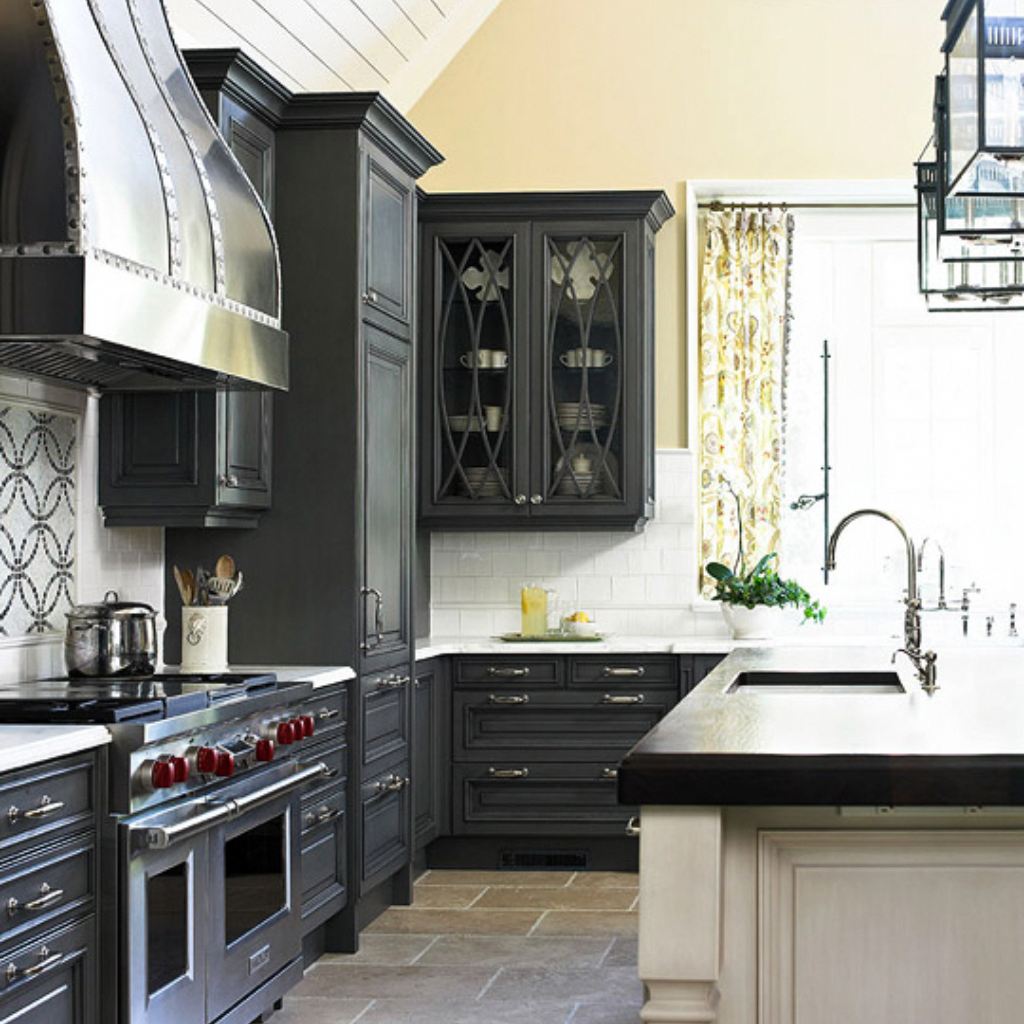 Stunning Charcoal Gray Almost Black Color Of Kitchen Cabinets Inspired The Whole Int Kitchen Tiles Design White Subway Tile Kitchen Dark Grey Kitchen Cabinets