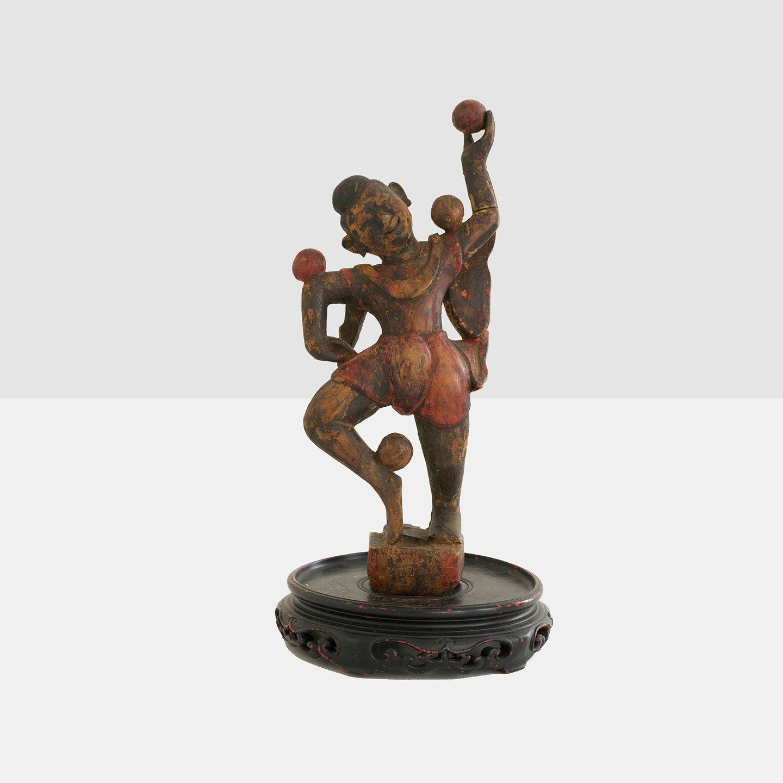 19th century burmese dancing juggler wood carving by homeandhomme