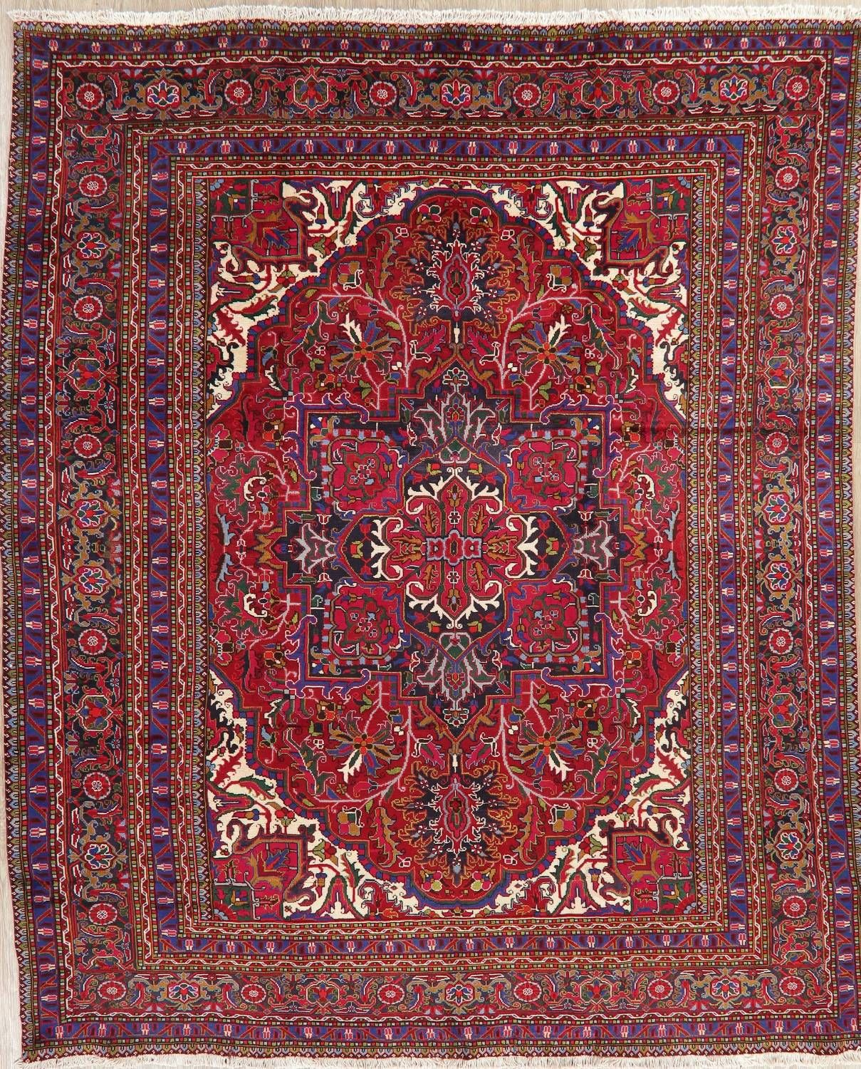 Geometric Red Heriz Persian Area Rug Wool 10x12 Wool Area Rugs Persian Area Rugs Rugs