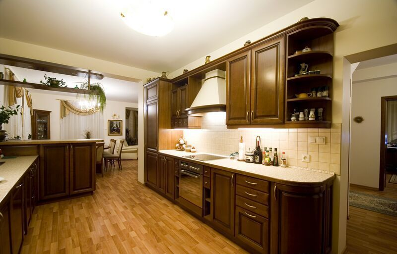 Traditional Kitchen Design- #DarkWoodCabinets, #WalnutColor http ...