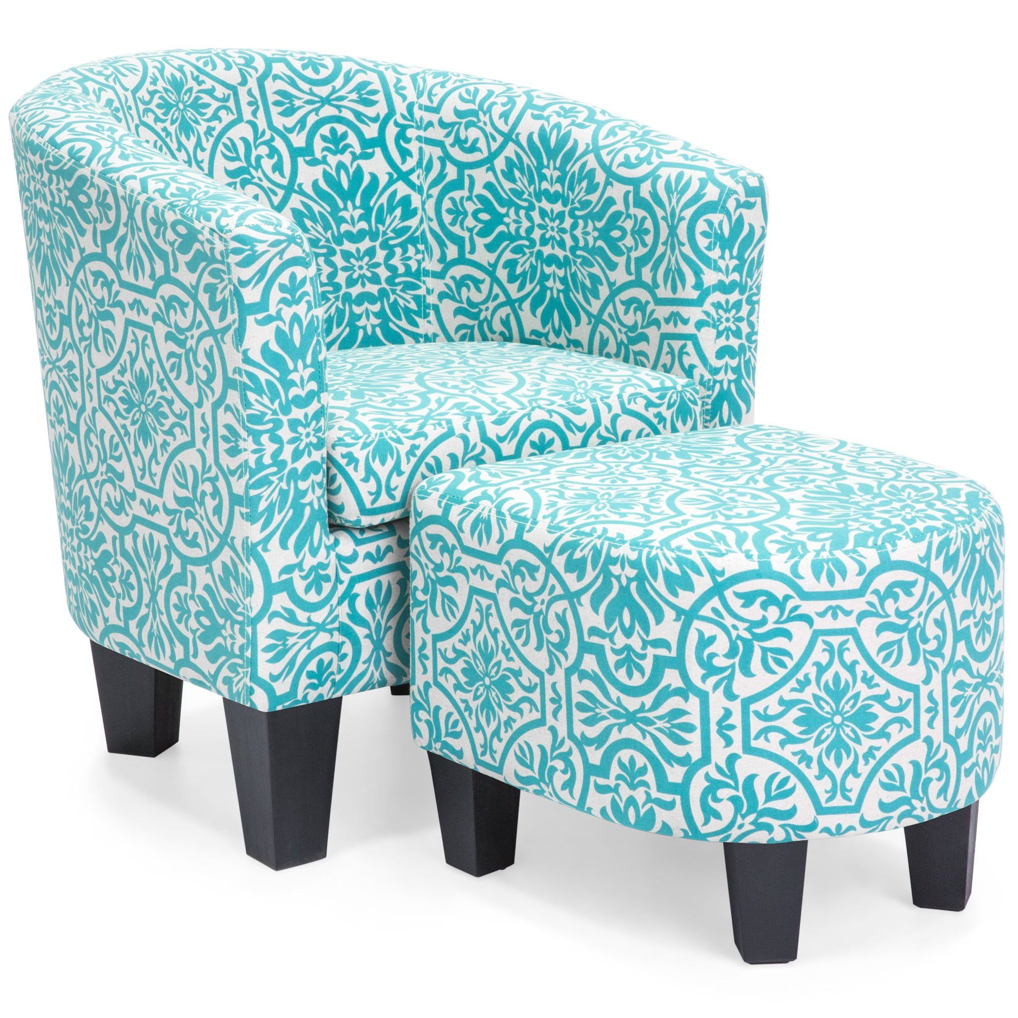 Best Upholstered Barrel Accent Chair W Ottoman Blue Floral 400 x 300