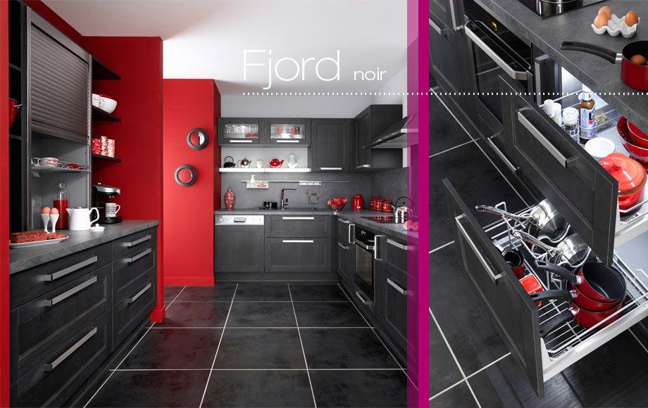 Cuisine Fjord Maison Pinterest - Photo Cuisine Rouge Et Grise