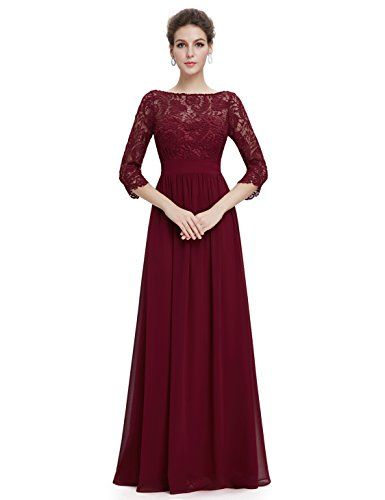 Ever Pretty Womens Lace Long Sleeve Floor Length Evening Dress 4 US ...