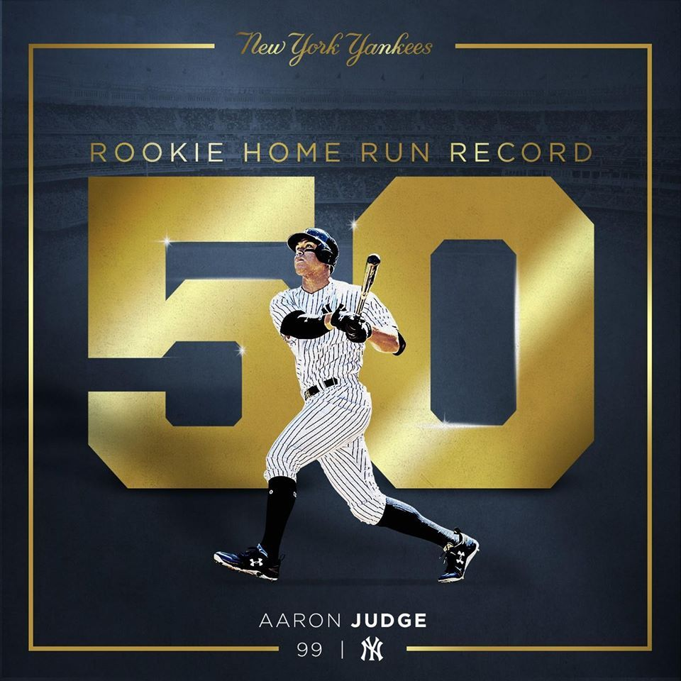 Aaron Judge breaks the rookie home run record with 50.Finishes the ...