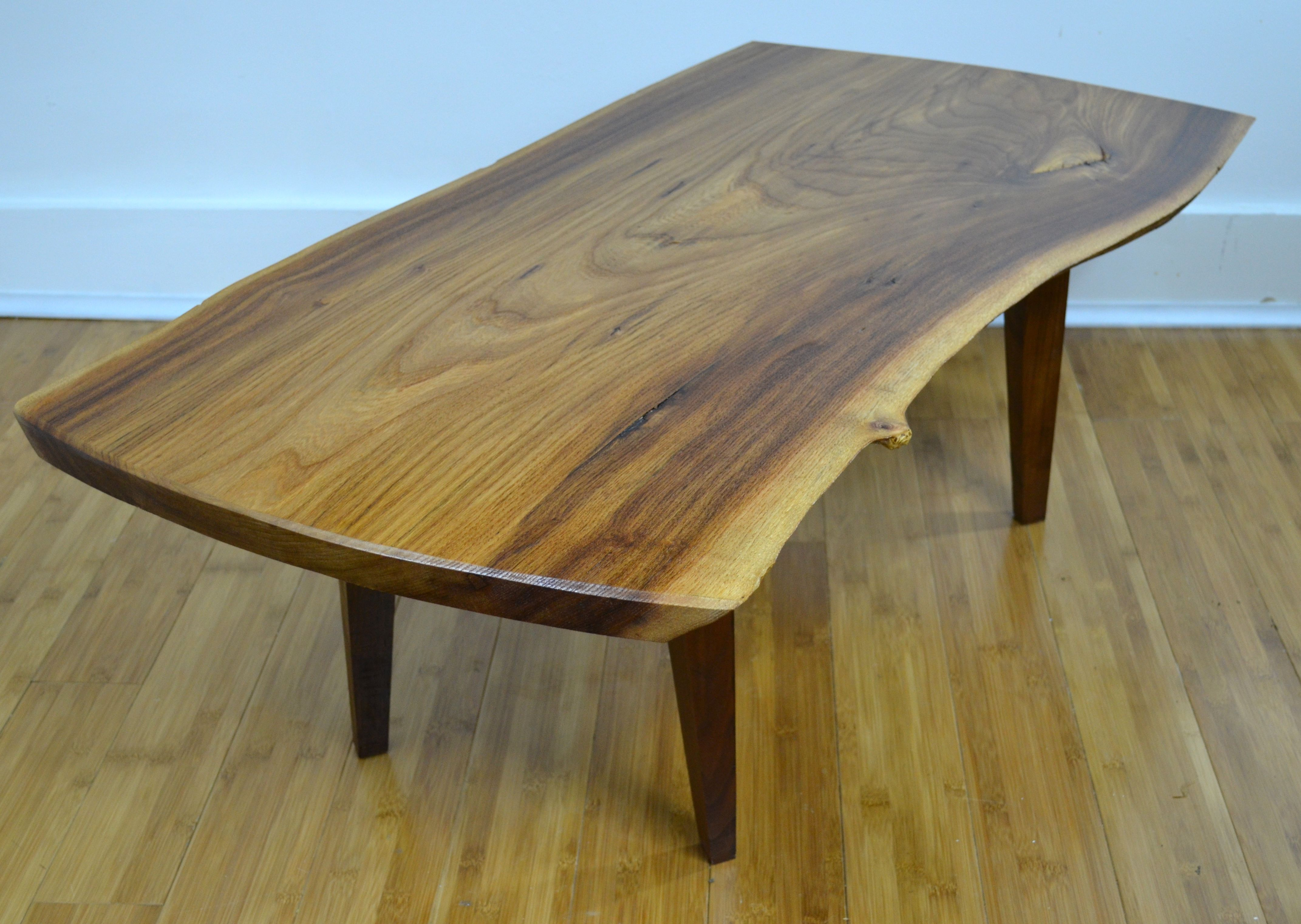 One Of The Tables That Started The Flow Of My MCM Furniture Making. English  Elm Live Edge Table, X Legs Are Straight But Tapered 4 Ways.