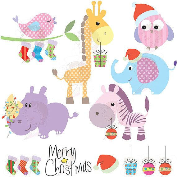 Christmas Cartoon Graphics Clip Art Baby Animals Cute