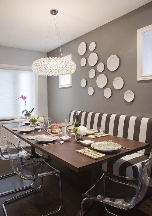 Interiors Dining Room Stripes Grey Walls Wall Art Plates Decor Lighting Interior