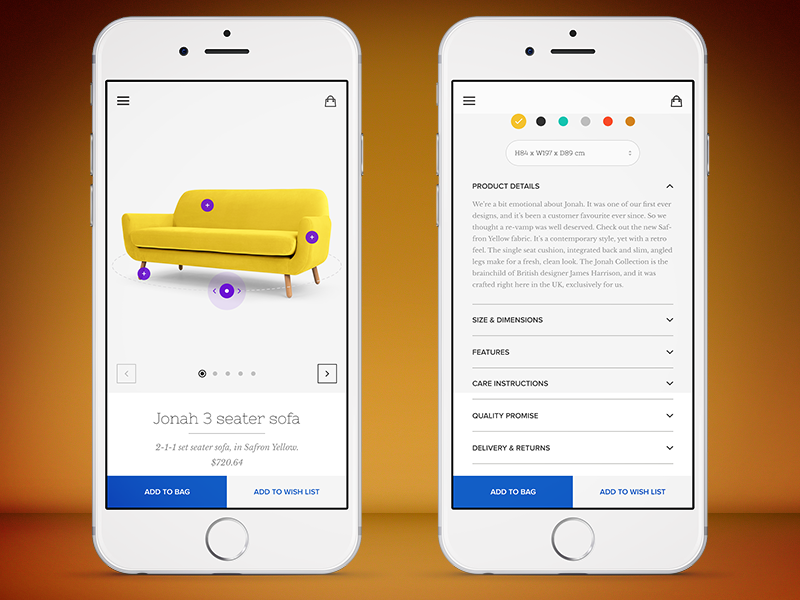 Beautiful Furniture App Product Page