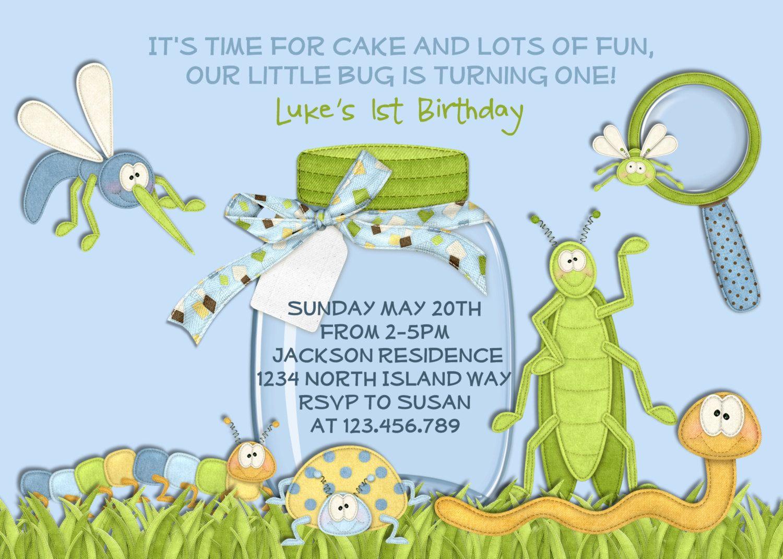 bug birthday invitation caterpillar