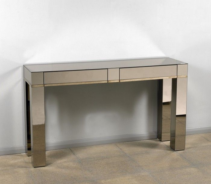 Awesome Mirrored Console Table With Drawers | Bronze Mirrored Console Table 2 Drawer