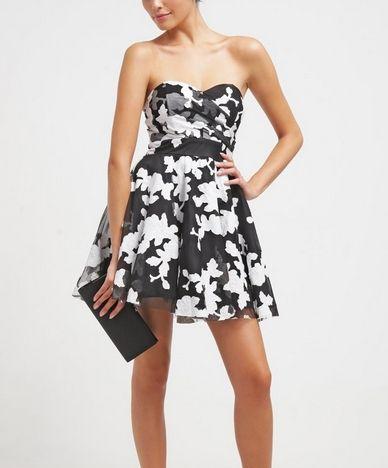 Tfnc Tibi Gorsetowa Czarna Sukienka W Kwiaty Koktajlowa Black White Floral Fashion Fashion Dresses