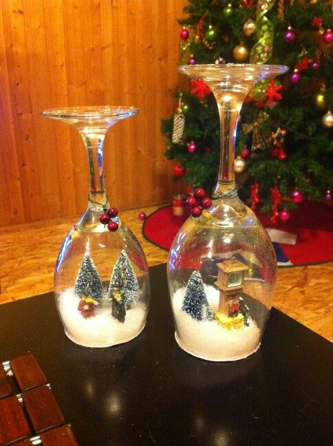 Snow Globes Made With Wine Glasses Wine Glass Crafts Diy Christmas Ornaments Glass Crafts