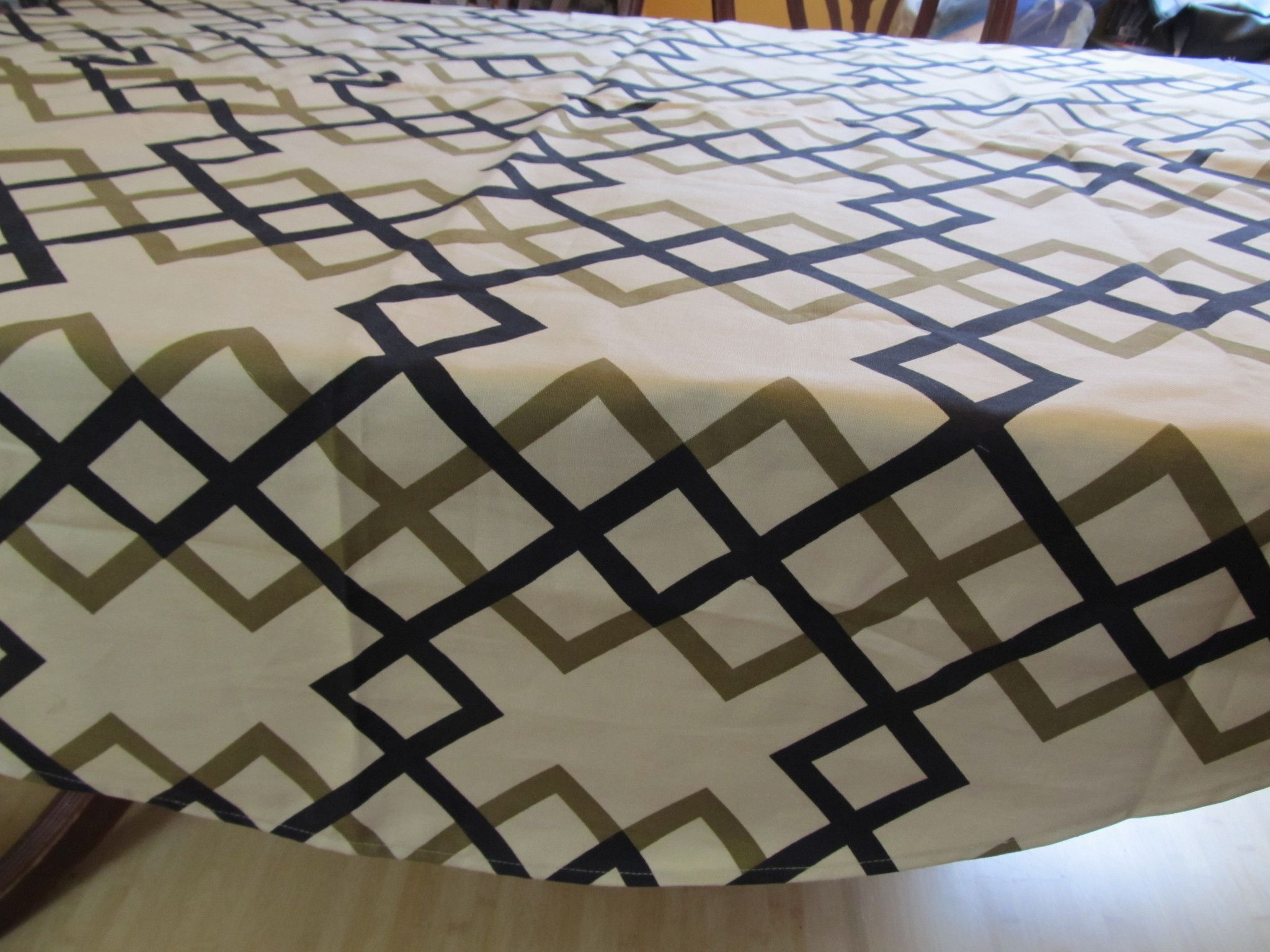 Table Cloth #07, Round Modern Geometric Design, made from Heavy Cotton