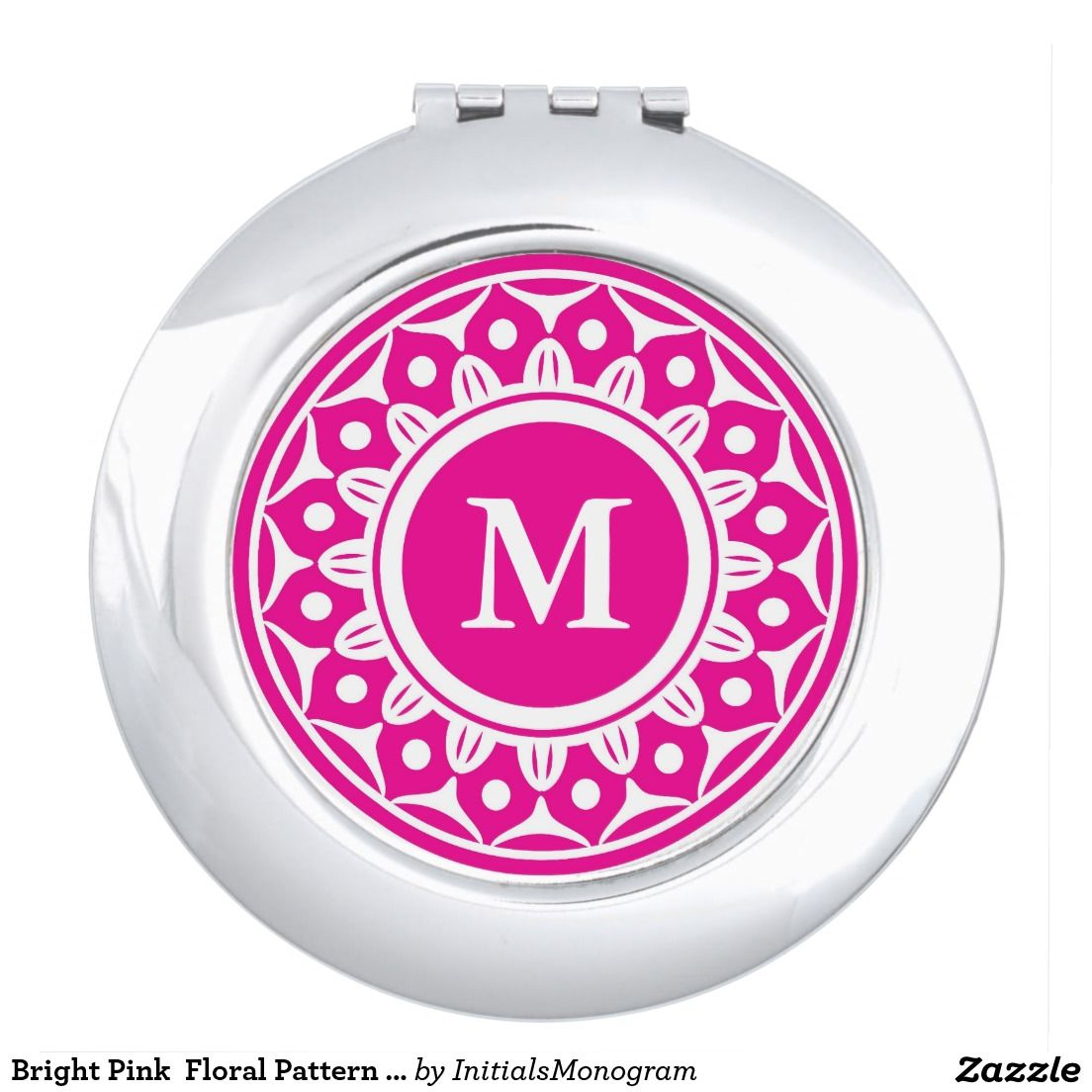 Pink And White Floral Monogrammed Mirror For Makeup