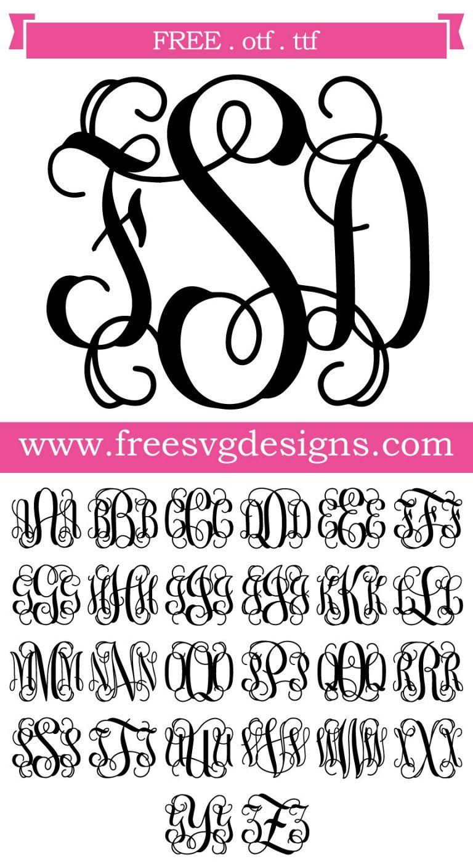 Script Vine Monogram Font 138 Cricut monogram font, Free