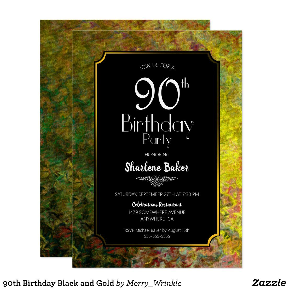 90th Birthday Black and Gold Invitation in
