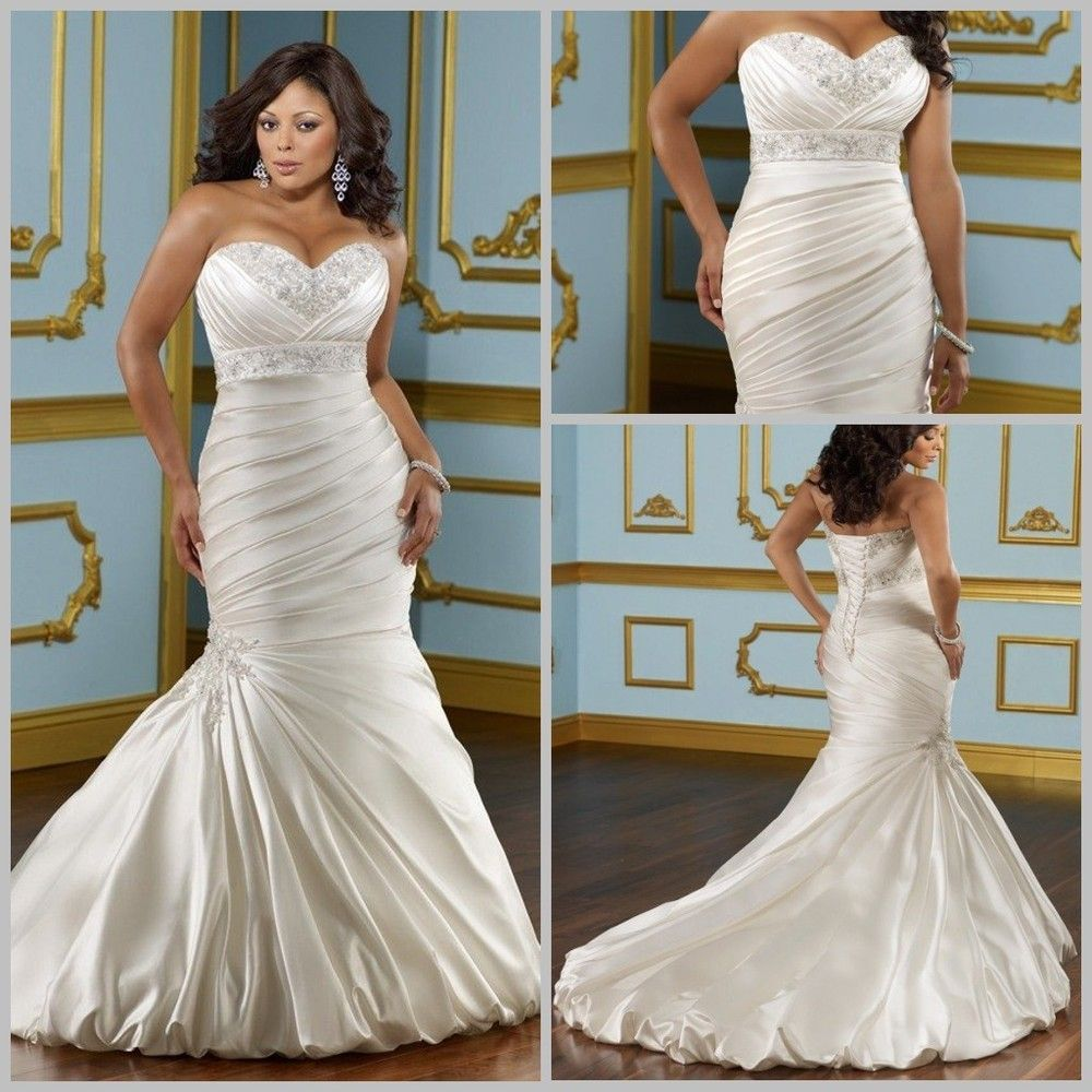 Plus Size Wedding Dresses Mermaid Style Lace Plus Size