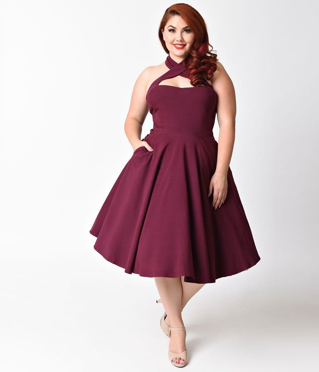 e7dde4948f3 Unique Vintage Plus Size 1950s Style Purple Criss Cross Halter Flare Rita  Dress
