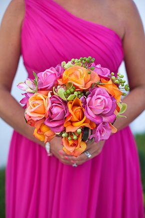Beach Wedding In Cancun Mexico Orange And Pink Wedding Summer