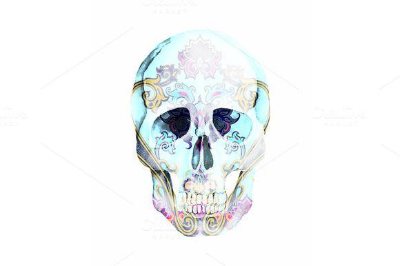 Watercolor Ornamental Skull by Natikka Art on @creativemarket