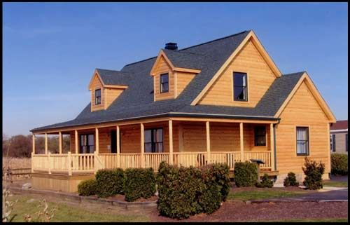 Ranch Style Modular Homes Log Siding And Wrap Around Porch