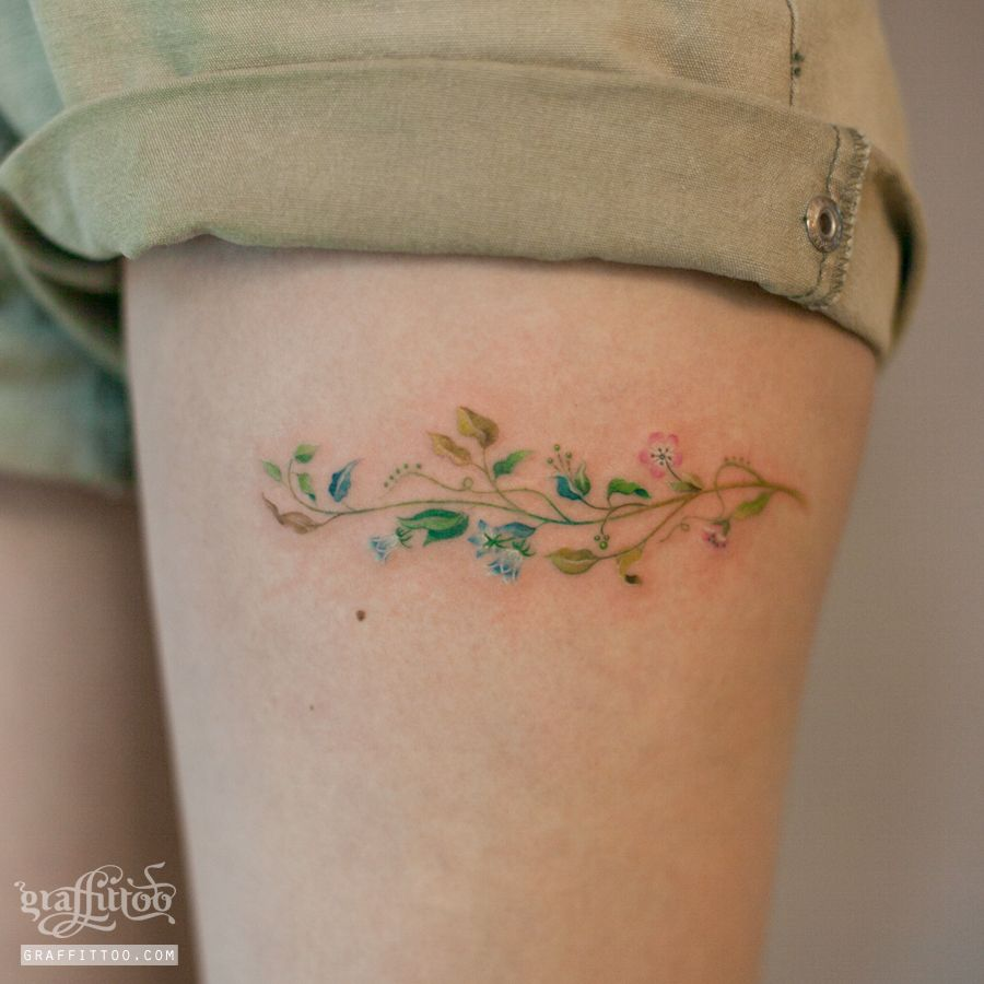Wrist Vine Tattoos Flower: Small Flower Vine Tattoo Thigh By Tatuyiseuteu River