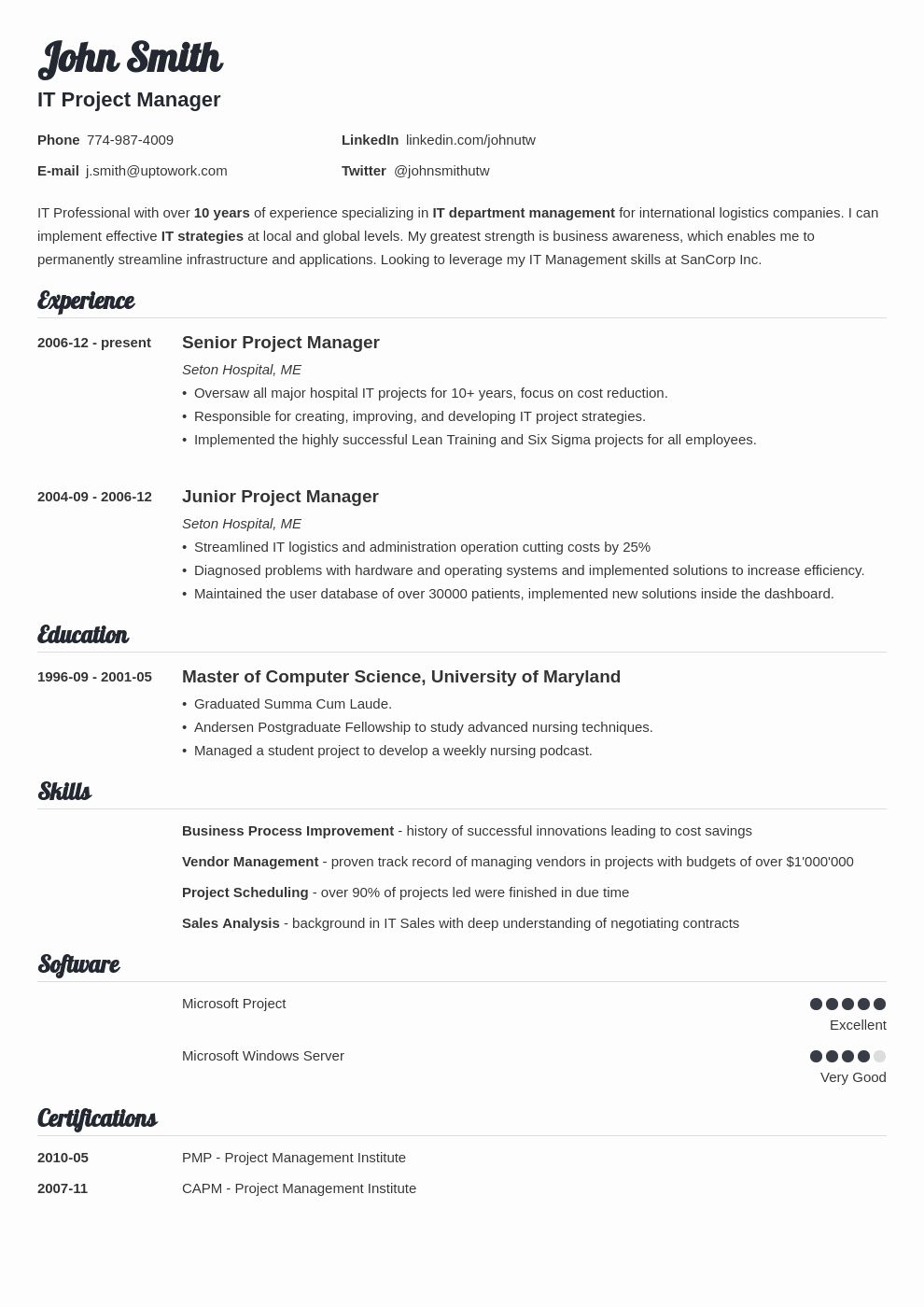 2018 Examples Resume format, Job resume template, Cover