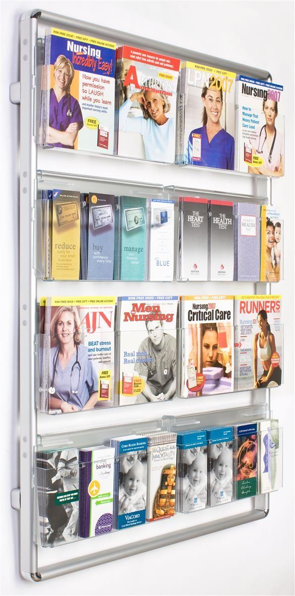 4 Tiered Metal Literature Wall Rack 4 8 5 W 16 32 Pockets Silver Wall Magazine Holder Magazine Holders Magazine Wall