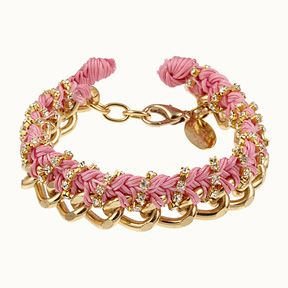 Thick Chain Braid w/Rhinestone- Pink/Gold