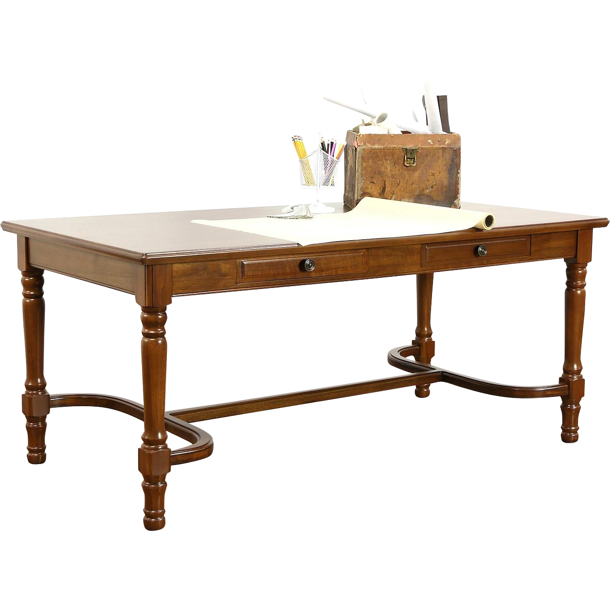 Walnut Traditional Office Or Library Table Writing Desk 1930 S Vintage Www Rubylane Com Vintagebeginsher Library Table Library Table Desk Traditional Office