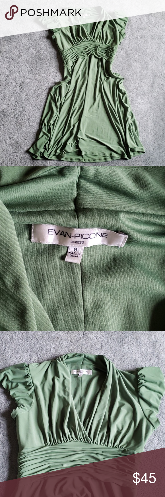 EUC Evan Picone Sz 8 sage green dress Dress isn't lined. This dress features cap sleeves and runching around the waist. Very flattering!   Chest (pit to pit) is approximately 17 inches. Length is approximately 37.5 inches. Evan Picone Dresses Midi #sagegreendress