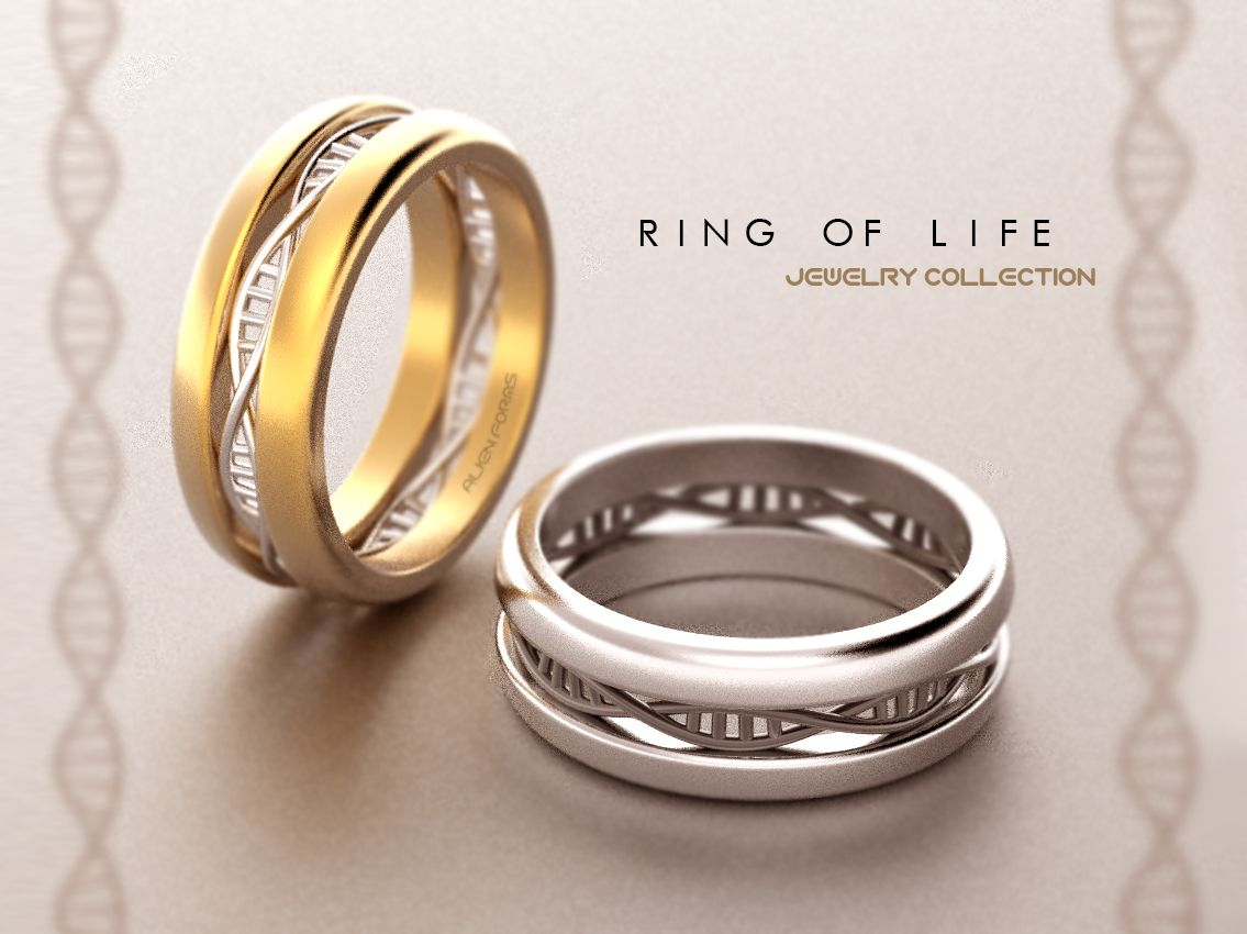 Dna Rings In 14k Gold #dna #biology #microbiology #jewelry #wedding #