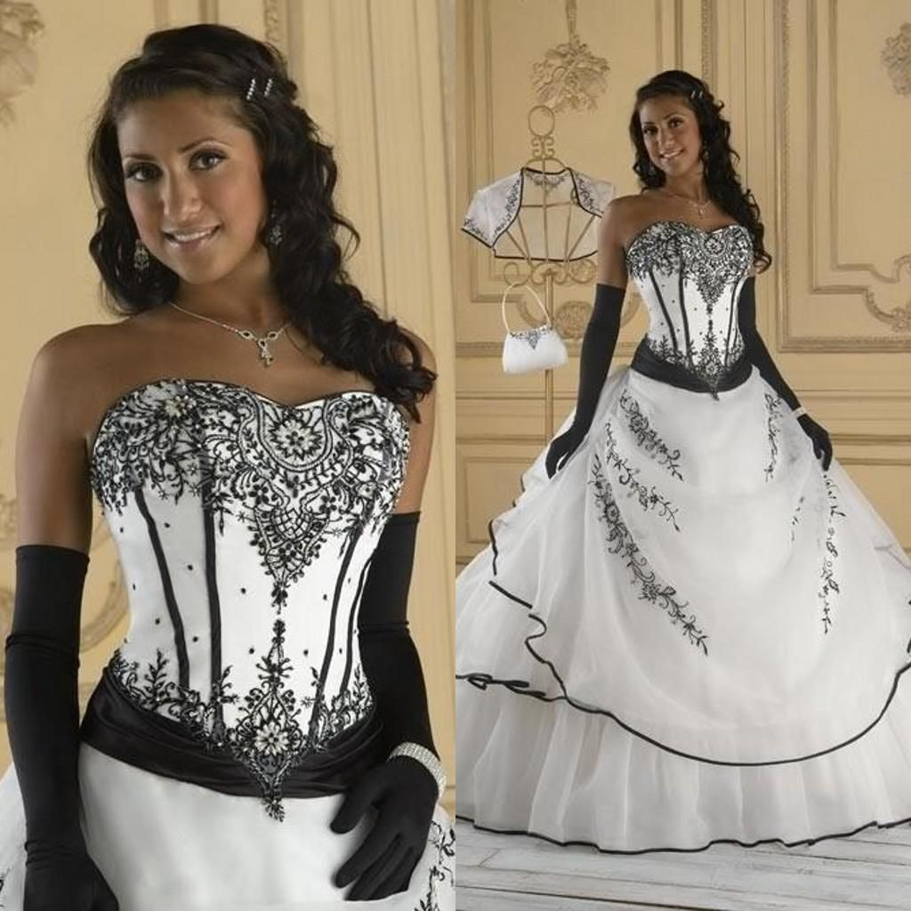 Vintage Black And White Wedding Dresses Ball Gown Soft Sweetheart ...