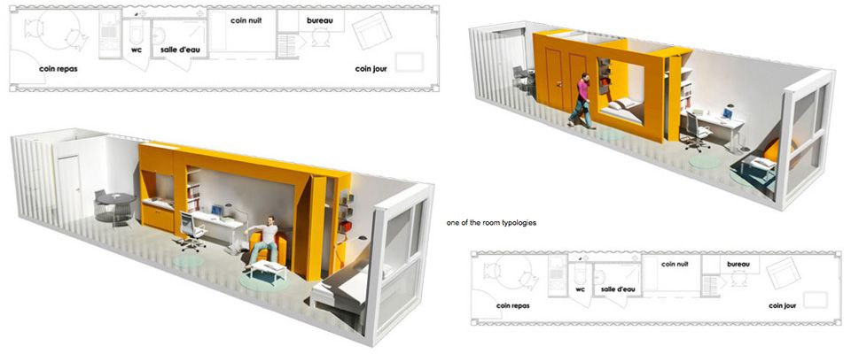 One wall living they forgot the laundry for Shipping container house plans