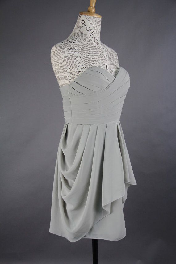 Grey Bridesmaid Dress Aline Sweetheart Mini by harsuccthing, $86.66