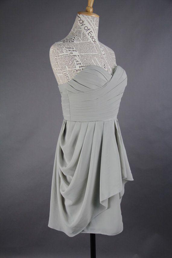 Grey Bridesmaid Dress Aline Sweetheart Mini by harsuccthing, $86.66