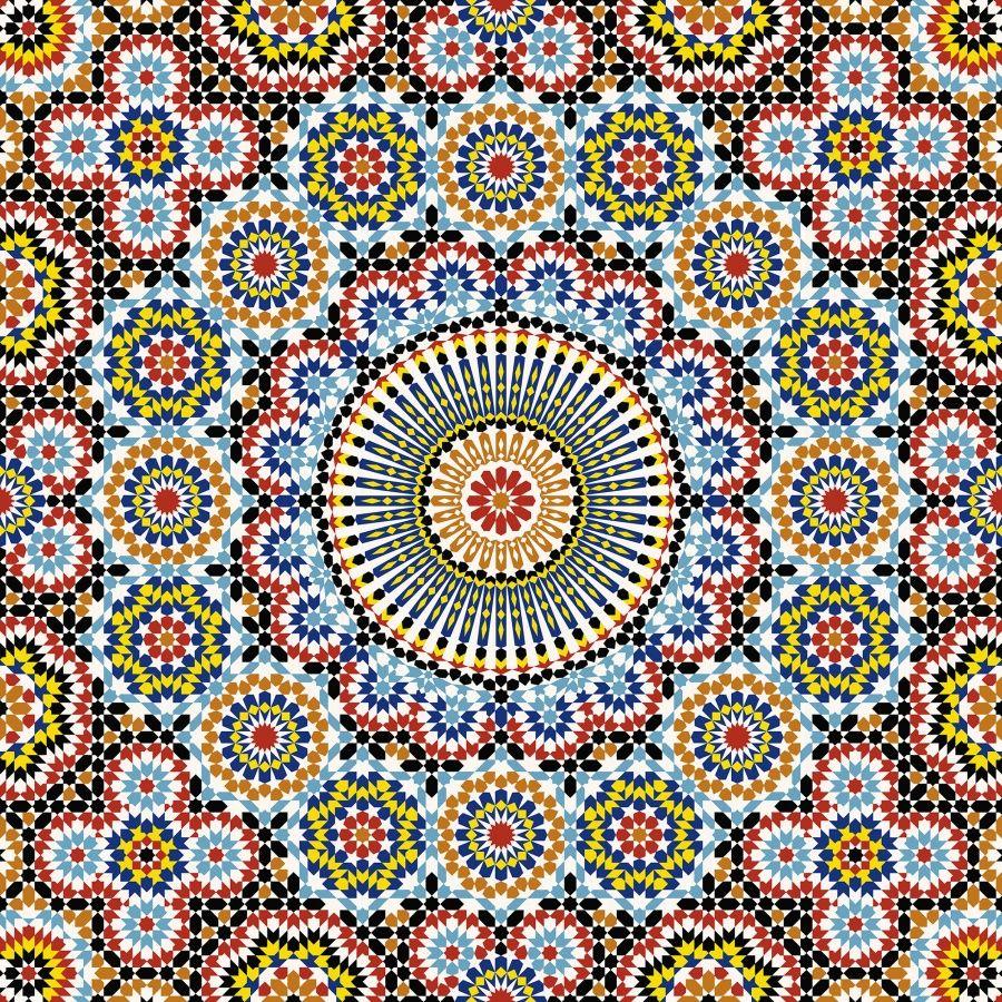 Upea geometrinen , värikylläinen tapetti. Jos olet rohkea, asenna tämä kattoon.